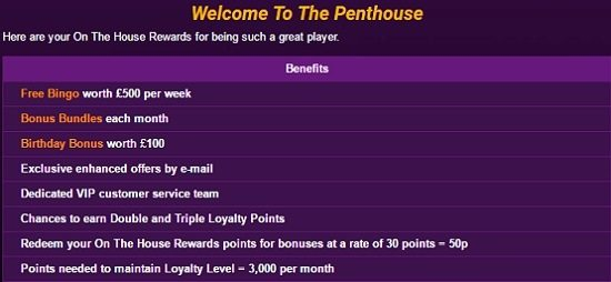 Ladbrokes Bingo Penthouse Rewards